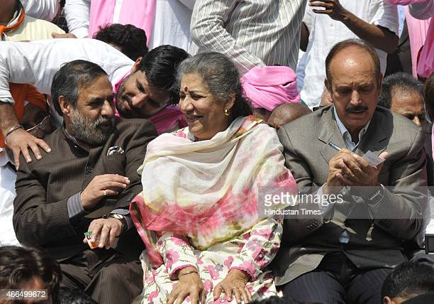 Congress leaders Ghulam Nabi Azad Ambika Soni and Anand Sharma shared the stage during their protest against the Land Acquisition bill at Jantar...