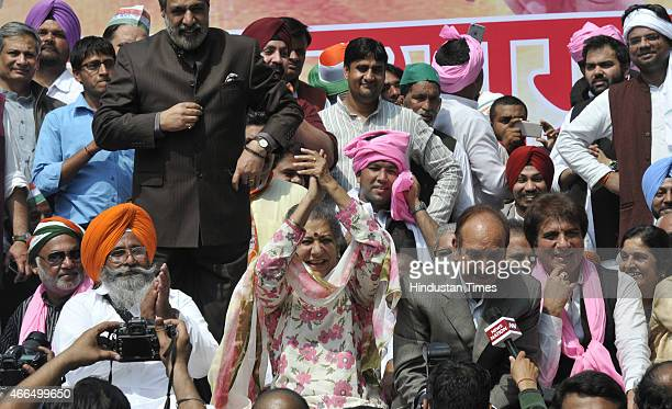 Congress leaders Ghulam Nabi Azad Ambika Soni Raj Babbar and Anand Sharma shared the stage during their protest against the Land Acquisition bill at...