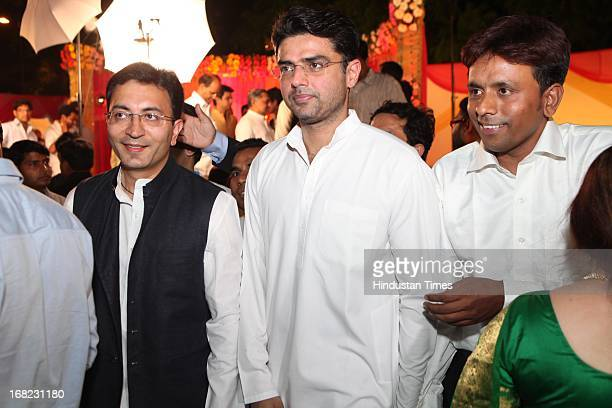 Congress leaders Jitendra Prasada and Sachin Pilot at the Wedding ceremony of Lawyer Ashok Basoya and ex Delhi University Student Union president...
