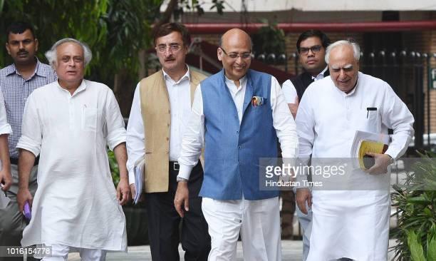 Congress leaders Kapil Sibal Abhishek Singhvi Vivek Tankha and Jairam Ramesh after meeting Chief Election Commissioner Om Prakash Rawat at Nirvachan...