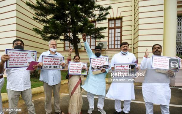 Congress legislators demonstrating with placards outside the Assembly durng the Monsoon Session on July 27, 2021 in Patna, India.