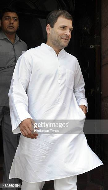 Congress member of Parliament and Vice President Rahul Gandhi after attending the ongoing Monsoon Session on August 3 2015 in New Delhi India 25 of...