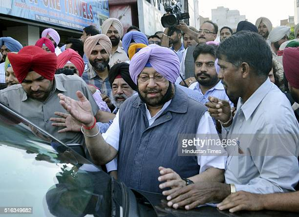 Congress Member of Parliament Captain Amarinder Singh coming out after watching the first screening of the documentary film on drug addiction at...