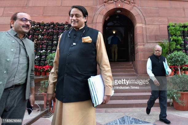 Congress Member of Parliament Shashi Tharoor during the winter session of Parliament on November 20 2019 in New Delhi India The Rajya Sabha discussed...