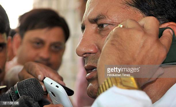Congress MLA and Minister of State for Dairy and Khadi Babulal Nagar informing media persons about his resignation on September 19 2013 in Jaipur...
