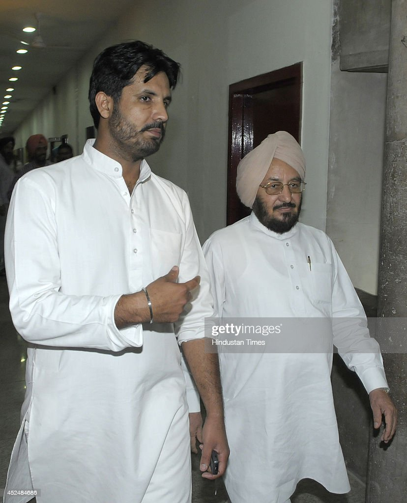 Congress MLAs Amarinder Singh Raja Warring and Lal Singh before the assembly session at Punjab Vidhan Sabha on July 21 2014 in Chandigarh India