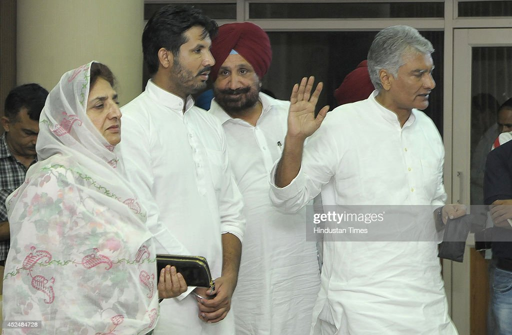 Congress MLAs Amarinder Singh Raja Warring Sunil Jakhar Rajinder Kaur Bhattal and others arrive for addressing the media persons during the assembly..