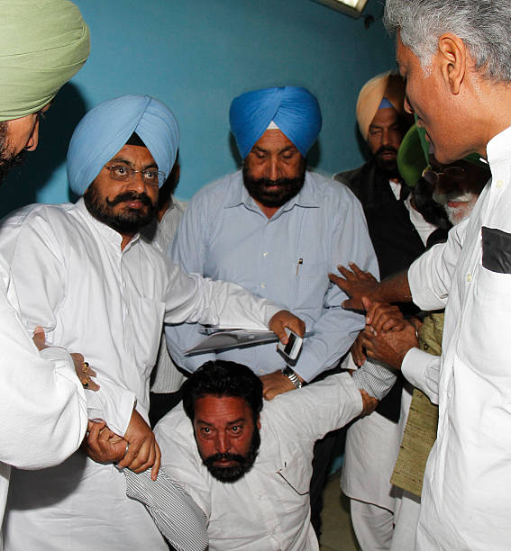 Congress MLAs Kuljit Nagra and CLP leader Sunil Jhakhar with others caught one of the constables who were roaming outside the CLP office at Punjab...