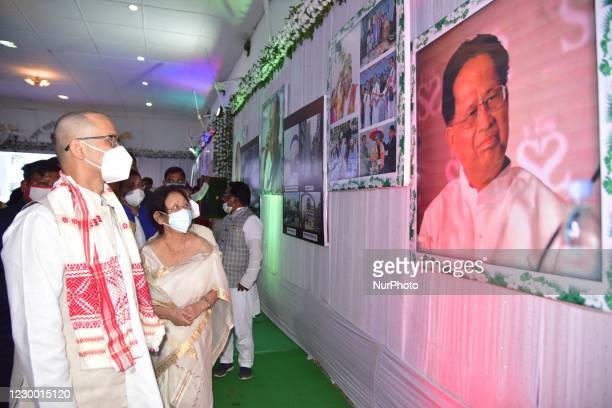 Congress MP Gaurav Gogoi with his mother Dolly Gogoi visit the photo exhibition on the life and works of of his father and former Chief Minister of...