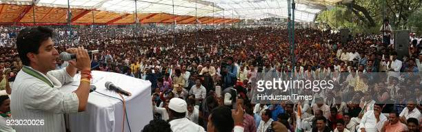 Congress MP Jyotiraditya Scindia addressing a public meeting on the last day of Kolaras byelection campaign on February 22 2018 in Shivpuri India...