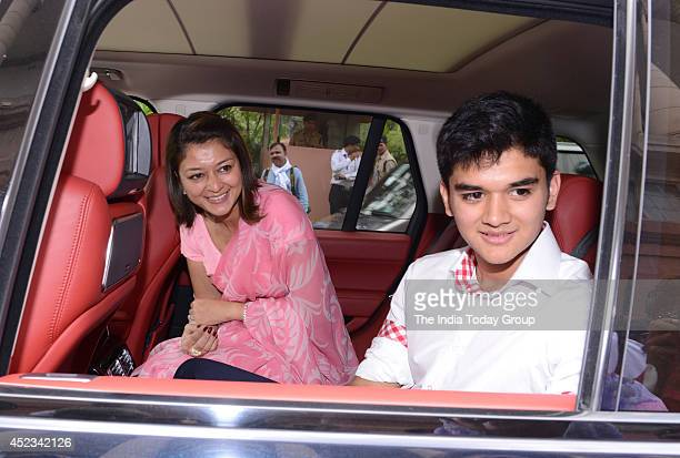 Congress MP Jyotiraditya Scindia's wife Priyadarshini Raje and son Mahanaryaman at Parliament House in New Delhi