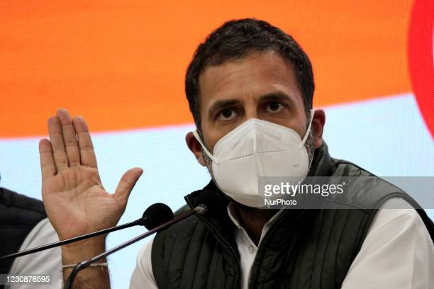 Congress MP Rahul Gandhi addresses a press conference at AICC on January 29, 2021 in New Delhi, India. Former Congress President Rahul Gandhi said...