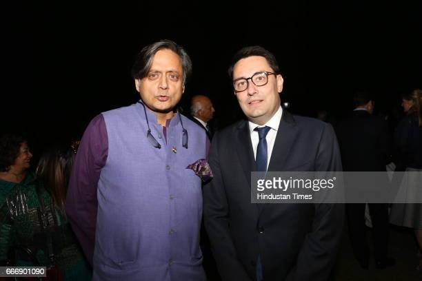Congress MP Shashi Tharoor and French Ambassador Alexandre Ziegler during the Good France 2017 annual dinner hosted by French Ambassador Alexandre...
