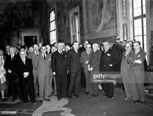 Congress of Catholic publishers with the presence of Italian politician Giulio Andreotti Rome 1950