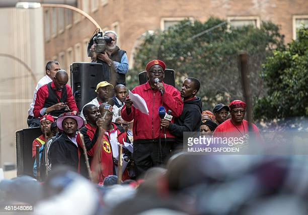 Congress of South African Trade Unions Secretary General Zwelinzima Vavi adresses the crowd on the first day of a nationwide strike called by South...