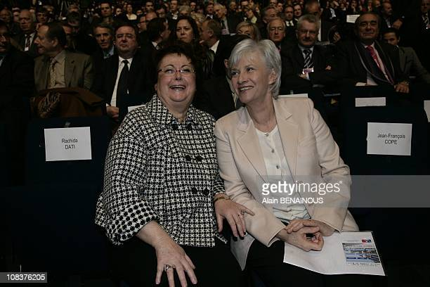 Congress of the UMP and Francois de Panafieu and Christine Boutin attend the meeting of The Rightwing Union for a Popular Movement party in Paris...