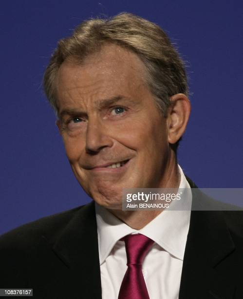 Congress of the Union for a Popular Movement Former British Prime Minister and International Quartet's Middle East envoy Tony Blair attend the...