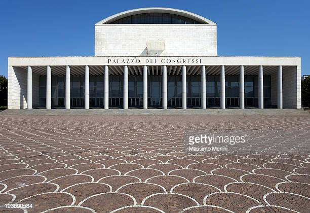 congress palace in rome - eur rome stock pictures, royalty-free photos & images