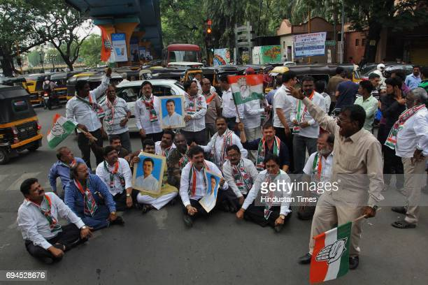 Congress party activists organize 'Rasta Roko' protest against Madhya Pradesh Chief Minister Shivraj Singh Chouhan after the arrest of Congress VP...