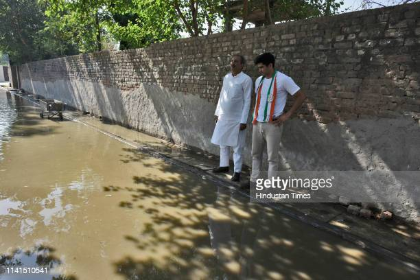 Congress party candidate from South Delhi Lok Sabha constituency Vijender Singh during his visit to Gadaipur in South West Delhi as part of his...