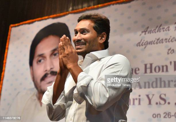 Congress Party Chief Jaganmohan Reddy gestures towards supporters after arriving at the Andhra Bhawan on May 26 2019 in New Delhi India Reddy will be...