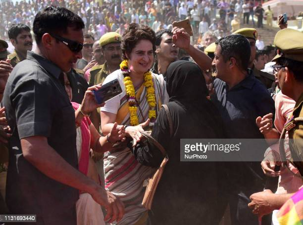 Congress party General Secretary and eastern Uttar Pradesh state in-charge Priyanka Gandhi Vadra meets with local people of varanasi during the last...