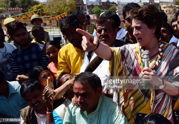Congress party General Secretary and eastern Uttar Pradesh state incharge Priyanka Gandhi Vadra speaks with local people of varanasi during the last...