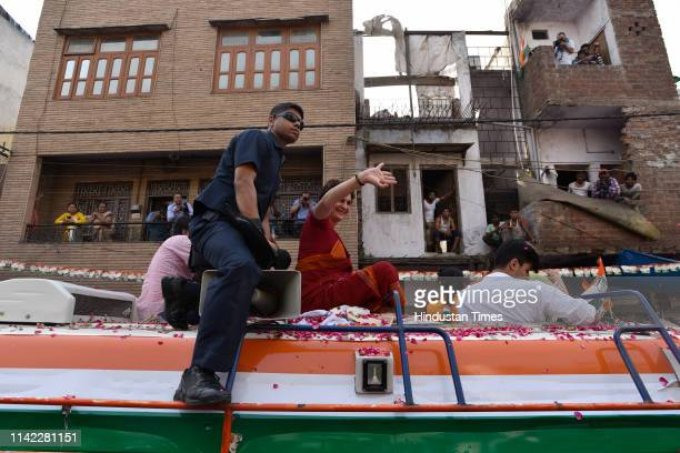 Congress party general secretary for eastern Uttar Pradesh Priyanka Gandhi Vadra campaigns for Congress candidate from North East Delhi Sheila...