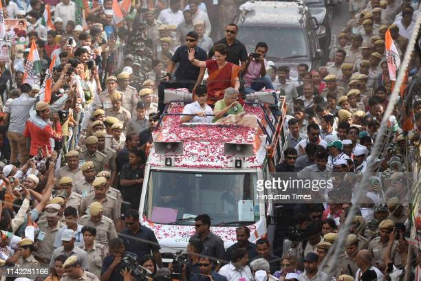 Congress party general secretary for eastern Uttar Pradesh Priyanka Gandhi Vadra campaigns for Congress candidate from North East Delhi Sheila Dixit...
