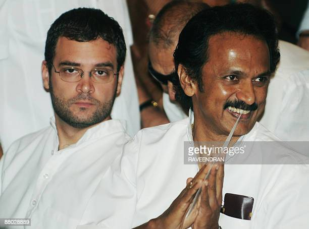 Congress Party General Secretary Rahul Gandhi and M K Stalin the son of Tamil Nadu state Chief Minister and Dravida Munnetra Kazagham party leader M...