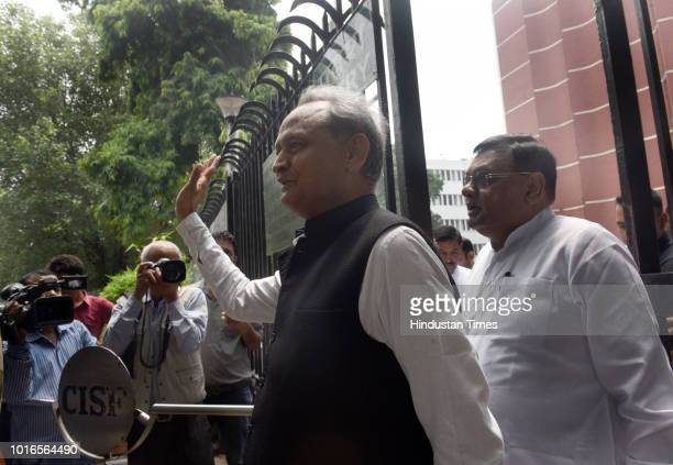 Congress Party leaders Ashok Gehlot and Avinash Pandey leave after meeting the Election Commission of India, on August 14, 2018 in New Delhi, India....