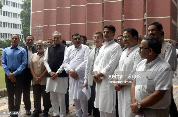 Congress Party leaders Ashok Gehlot, Avinash Pandey, Sachin Pilot, CP Joshi, Vivek Tankha and others leave after meeting the Election Commission of...