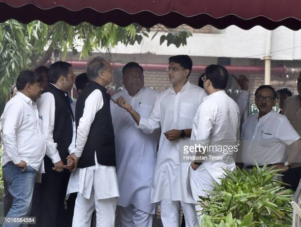 Congress Party leaders Ashok Gehlot, Sachin Pilot, Avinash Pandey and others after meeting the Election Commission of India, on August 14, 2018 in...
