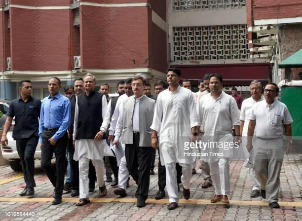 Congress Party leaders Ashok Gehlot, Vivek Tankha, Sachin Pilot, Avinash Pandey and others leave after meeting the Election Commission of India, on...