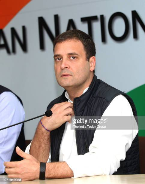 Congress Party President Rahul Gandhi addressing to media at AICC after winning assembly elections in Chhattisgarh Rajasthan MP in New Delhi