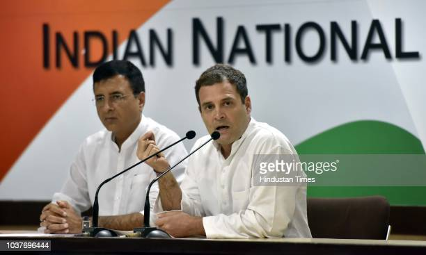 Congress Party President Rahul Gandhi with spokesperson Randeep Singh Surjewala address media person on the Rafale Scam issue at AICC HQ on September...