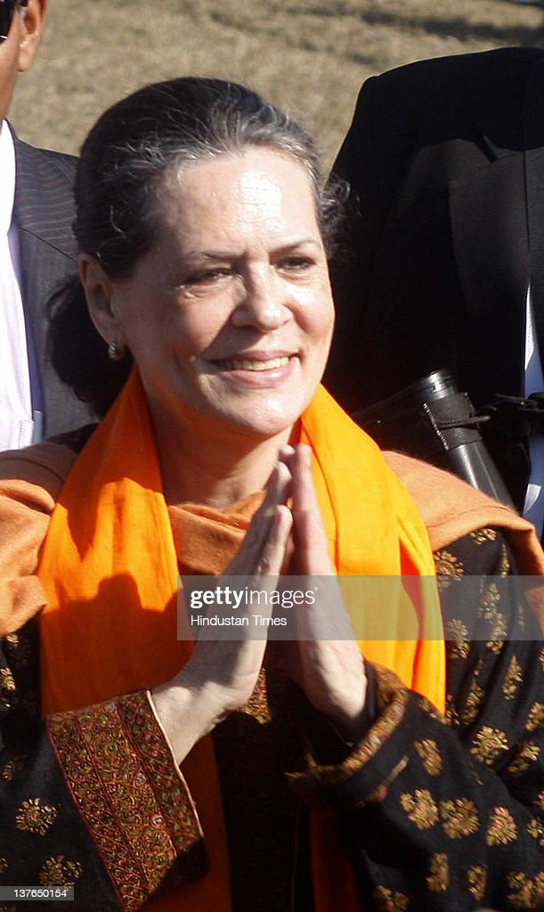 Congress Party President Sonia Gandhi greets supporters during an election rally on January 24, 2012 in Gurdaspur, India. Addressing the rally, Congress Party President lashed out at incumbent SAD-BJP government in Punjab for not utilizing central funds for development of state and pushing Punjab into backwardness.