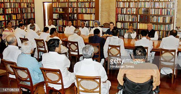 Congress Party President Sonia Gandhi with Finance Minister Pranab Mukherjee Prime Minister Manmohan Singh Defence Minister AK Anthony Rahul Gandhi...