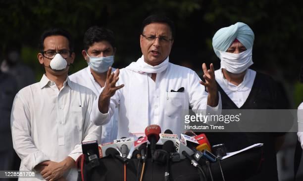 Congress party spokesperson Randeep Singh Surjewala Congress Member of Parliament Gaurav Gogoi and Jasbir Singh Gill brief the media on the issue of...