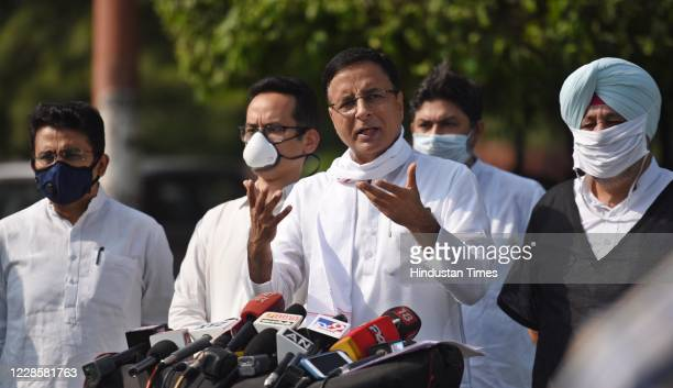 Congress party spokesperson Randeep Singh Surjewala Congress Member of Parliament Gaurav Gogoi Rajeev Satav and Jasbir Singh Gill brief the media on...