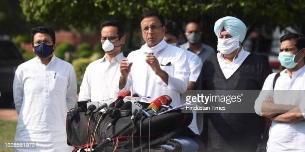 Congress party spokesperson Randeep Singh Surjewala Congress Member of Parliament Gaurav Gogoi Rajeev Satav Jasbir Singh Gill and Hibi Eden brief the...