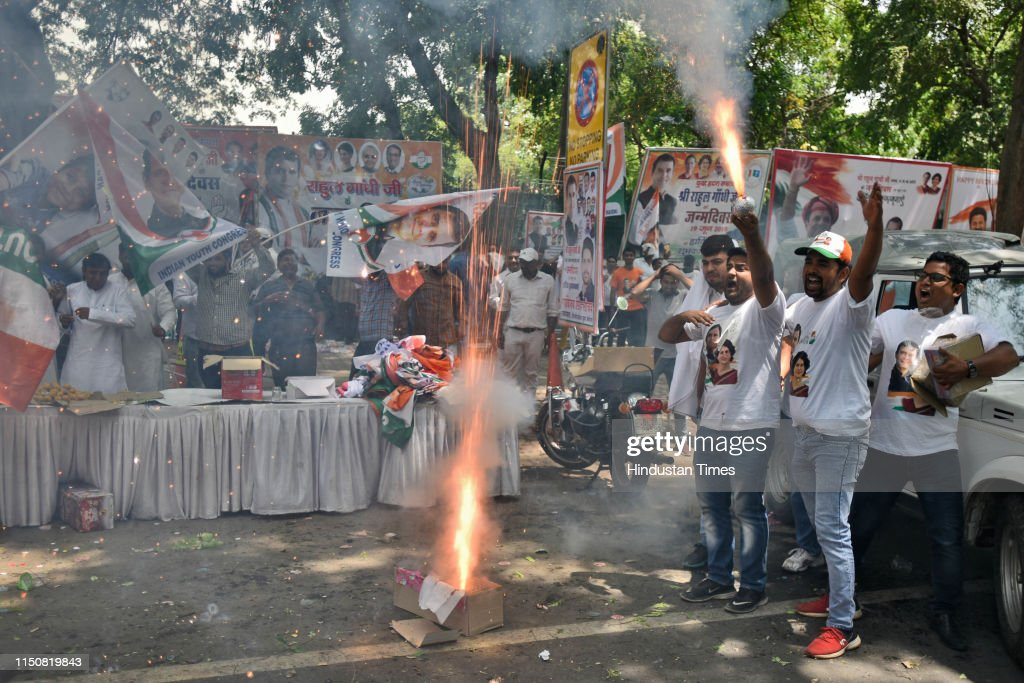 Congress President Rahul Gandhi Celebrates His 49th Birthday With Party Workers And Supporters : News Photo