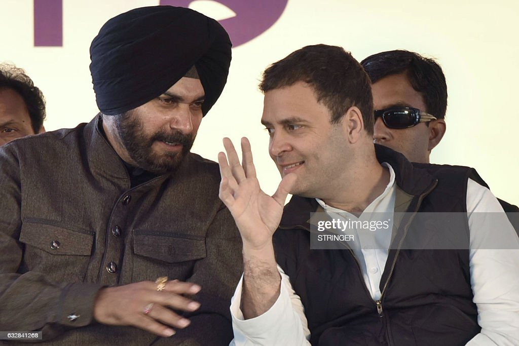 Congress Party Vice President Rahul Gandhi and cricketerturnedpolitician former member of parliament and current Congress Party candidate for the...