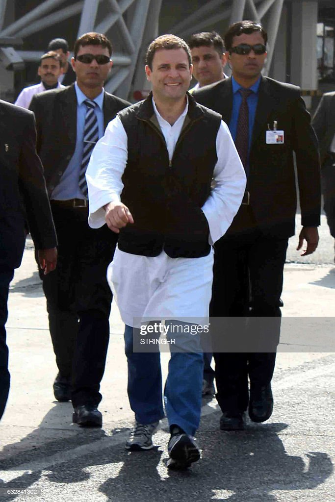 Congress Party Vice President Rahul Gandhi arrives at the International Airport in Amritsar on January 27 2017 Rahul Gandhi visited the city to...