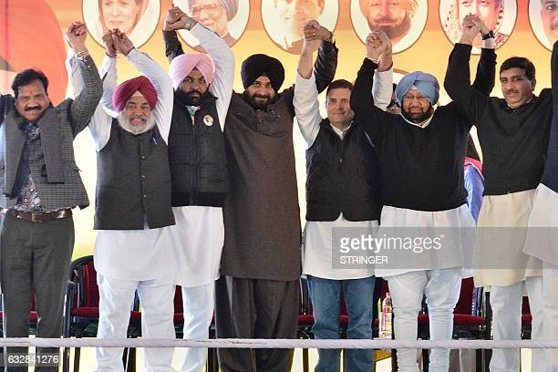 Congress Party Vice President Rahul Gandhi Congress Punjab President and former chief minister of Punjab Amarinder Singh cricketerturnedpolitician...