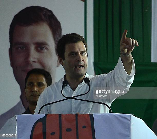 Congress party vice president Rahul Gandhi deliver his speech in a Congress Left Front alliance election meeting ahead of the fifth phase of West...