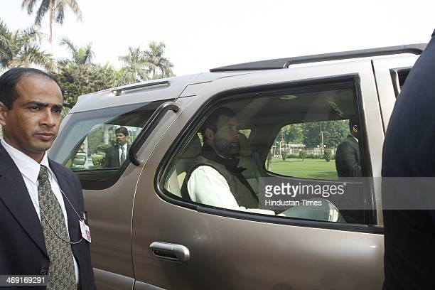 Congress party vice president Rahul Gandhi exits the parliament following scuffles and pepper spraying inside the Parliament building as parliament...