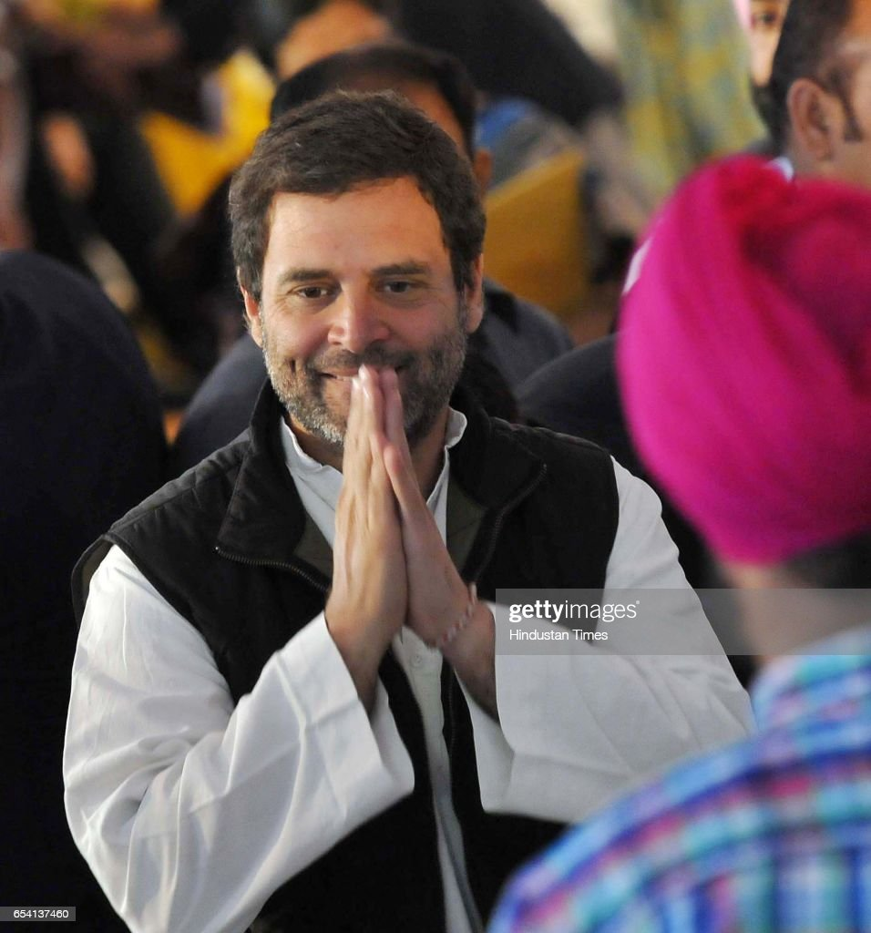 Congress party vicepresident Rahul Gandhi during Capt Amrinder Singh oath ceremony The oath was administered by Punjab Governor VP Singh Badnore at...