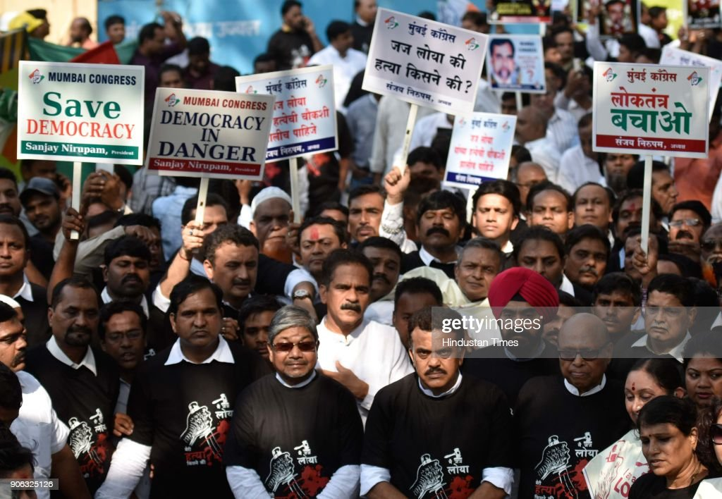 Congress Party Workers Participate In Silent March Protest Regarding Justice For Judge B H Loya