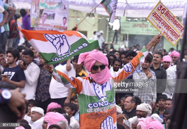 Congress party workers during the JanKranti Rath Yatra Rally at Hodal Mandi on February 25 2018 in Palwal India
